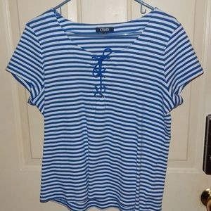 CHAPS WOMENS BLUE & WHITE STRIPED LACE UP KNIT TOP